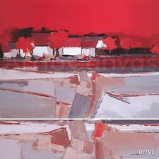 """40""""x30"""" ARBRES ROUGES by DEMAGNY - RED GRAY TAN BLACK SPATULA CANVAS"""