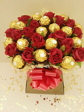 Ferrero Rocher Chocolate & Red Roses Bouquet Sweet Tree Hamper - Perfect Gift