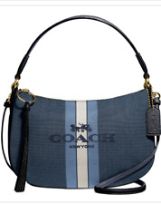 NWT COACH  Sutton Horse And carriage Jacquard Blue/Denim Crossbody Bag