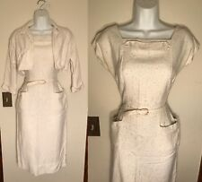 Vintage 1950s 1960s PINUP White Wiggle Dress Bolero Jacket Set