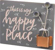 PRIMITIVES BY KATHY THIS IS MY HAPPY PLACE WOODEN WALL SIGN & FLOWER VASE