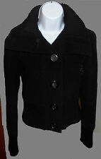 Peacoat Express Woolblend Black Size XS Ribbed Collar & Waist zip pockets Womens