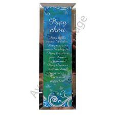 """Miroir message """"Papy Chéri"""" à poser/accrocher verre idée cadeau Grand Père neuf"""