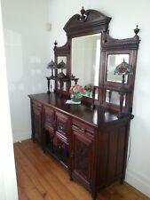 Antique Sideboard Victorian Scottish Solid Walnut Mirror Backed C1890