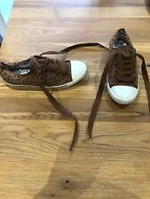 Worn Once Next Size 5 Brown Spot Lace Up Canvas Pumps Shoes