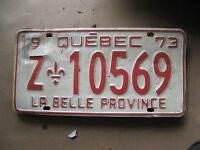 1973 73 QUEBEC CANADA CANADIAN LICENSE PLATE  # Z 10596