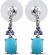 Arizona Sleeping Beauty Turquoise, Tanzanite Earrings Sterling Silver 2.67 Cts