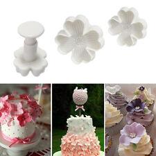 3Pc Plastic Clover Flower Plunger Cookie Cutter Fondant DIY Gum Paste Baking Set