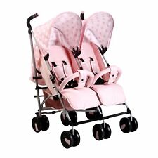 Mon babiie MB22 TWIN/DOUBLE de naissance bébé pliant Poussette-Rose Polka