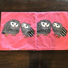 Ikea Gulort Set of 2 Throw Pillow Covers OWLS Feathers Pink Black Square 20 x 20