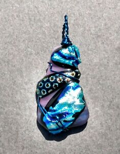 Blue Oyster Dichroic Glass Pendant By L Morris