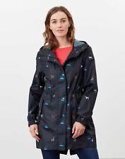 Joules Womens Golightly Printed Waterproof Packaway Jacket - Black Cat Dog