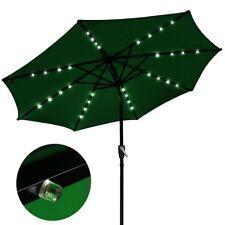 Solar LED Patio Umbrella 2.7m Tilt Outdoor Garden Market Shade Parasol Green