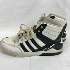 Adidas Mens Trefoil Hi Top Sneakers Size 10.5 Black White 3 Stripes 2014 Release