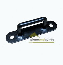 10 x Riemenkrampe für Schlitzösen, Eisen schwarz, Höhe=16 mm, Bügelkrampe Krampe