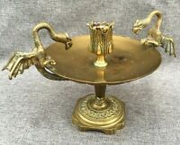 Antique french candle holder bowl early 1900's dragons made of  brass 2lb