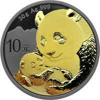 China Panda 10 Yuan 2019 Silber Anlagemünze Ruthenium Gold Edition