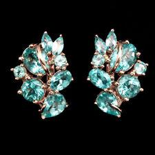 21 x14 mm. 925 Sterling Silber Ohrringe Roségold beschichtet Neon Blau Apatit CZ