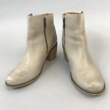 White Stuff Size 38 UK5 Natural Leather Ankle Zip Up Heeled Cowboy Western Boots