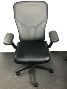 All Steel Acuity Chair Fully Loaded, Black Leather Seat + Fully Adjustable Arms