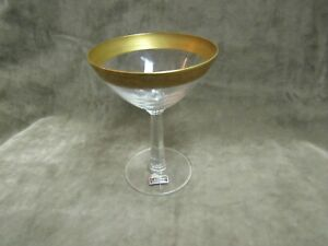 Vintage Reizart Crystal Scroll Floral Etched Gold Encrusted Trim Champagne Glass