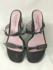 TARYN ROSE WOMEN'S BLACK LEATHER STRAPPY SANDALS 38-1/2 SLIDE RUBBER SOLE