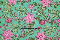 Indian Hand Block Flower Print Dressmaking Cotton Fabric Craft Sewing By 5 Yard