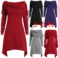 Winter Autumn Women Solid Ruched Long Foldover Collar Tunic Top Blouse Tops Plus