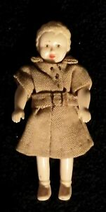 Antique Hand Painted Miniature Plastic Stiff Neck Doll - Germany