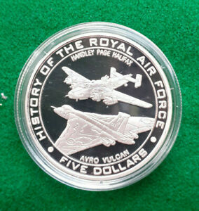 2008 1 oz  Silver Proof $5 History Of The Royal Air Force NAURU  Avro Vulcan +