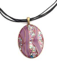 Kette,Halskette,Modekette,ovaler Anhänger, Paua Abalone Muschelsplitter, violet