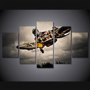 Motocross Stunt Bike Rider 5 Piece Canvas Print Wall Art