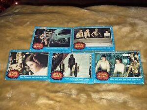 VINTAGE STAR WARS SERIES 1 BLUE SET OF 5 CARDS - TOPPS CARDS 1977