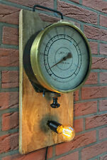 Antikes Manometer als Wandlampe, Steampunk, Loft, Industriedesign, Unikat