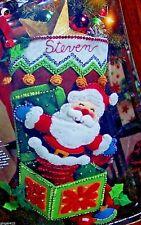 Bucilla POP-UP SANTA Felt Christmas Stocking Kit-Jack-in Box OOP Vintage New 18