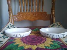 Rae Dunn Cat Food/Water Bowls Dishes - Set Of 2