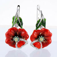 925 Silver Zircon Red Flower Earrings Ear Drop Women White Sapphire Jewellery