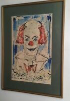 Fred GROTHE MAHE (g, 1922) Clown Expressionistische Malerei Guache Aquarell