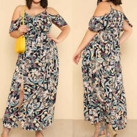 Summer Women Plus Size V-Neck Dress Camis Leaves Print Short Sleeve Slit Dresses