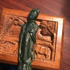"""New listing Antique hand carved Chinese green spinach jade Princess Or Goddess 5"""" Sculpture"""