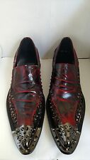 Red Leather mens Studded Dress Pointed Slip on Shoes Size 9 Eur 42