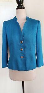 TAHARI Arthur S LEVINE Turquoise Blue Jacket Size 4
