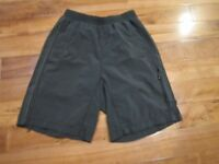 LULULEMON MENS board /swim shorts size small 26 inch waist black stripes at side