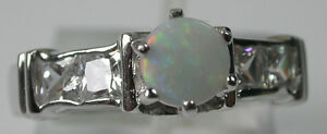 AUSTRALIAN SOLID 5MM OPAL RING IN STERLING SILVER Wedding