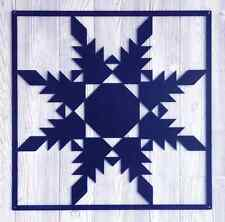 "Barn Quilt - Dark Blue Metal 12"" x 12"" Quilt Block Sign Feathered Star Pattern"