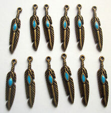 10 Native Feather Charms Turquoise Enamel Bronze Tone Metal 27mms