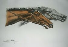 Pair Race Horse's Competing, Leon Danchin Listed French Artist