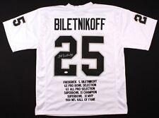 Fred Biletnikoff Signed Raiders Career Highlight Stat Jersey (JSA COA)