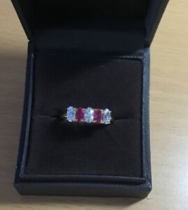925  Silver / Gold Overlay Ruby And Cubic Zirconia Ring Size N