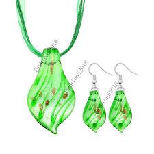 Green Leaf Lampwork Glass Murano Bead Pendant Ribbon Necklace Cord Earrings Set